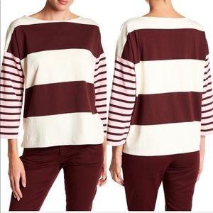 Jcrew boxy fit contrast stripe t-shirt 3/4 sleeve